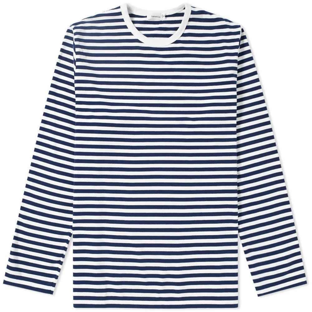 ナナミカ Nanamica メンズ 長袖Tシャツ トップス【long sleeve coolmax stripe tee】Navy/White