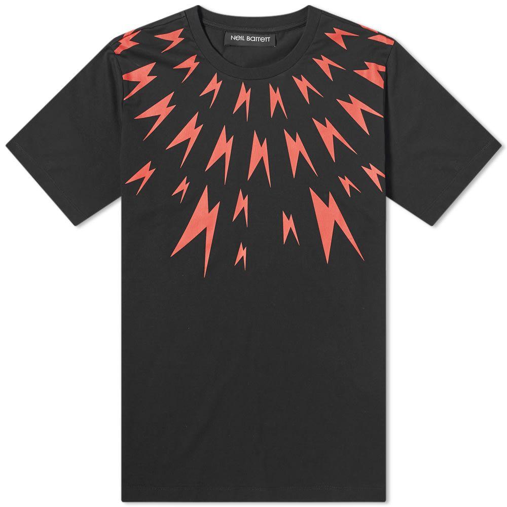 ニール バレット Neil Barrett メンズ Tシャツ トップス【meteorite thunderbolt yolk tee】Black/Red