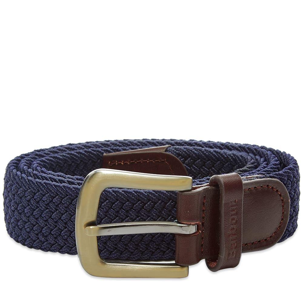 バーブァー Barbour メンズ ベルト 【stretch webbing leather belt】Navy