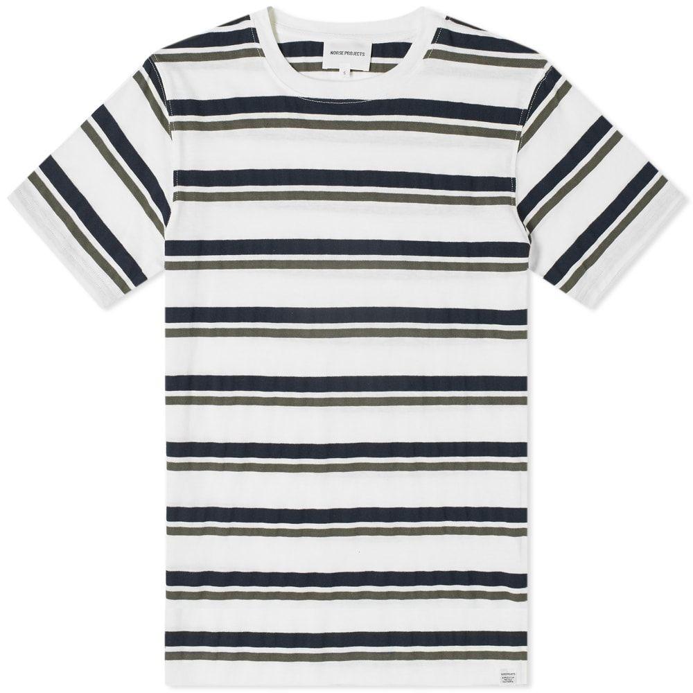 ノースプロジェクト Norse Projects メンズ Tシャツ トップス【niels pique stripe tee】Ivy Green/Navy