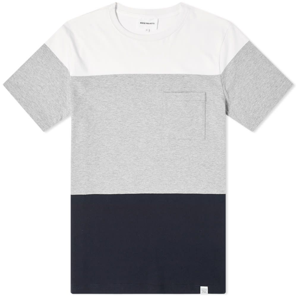 ノースプロジェクト Norse Projects メンズ Tシャツ トップス【niels colour block tee】Light Grey Melange