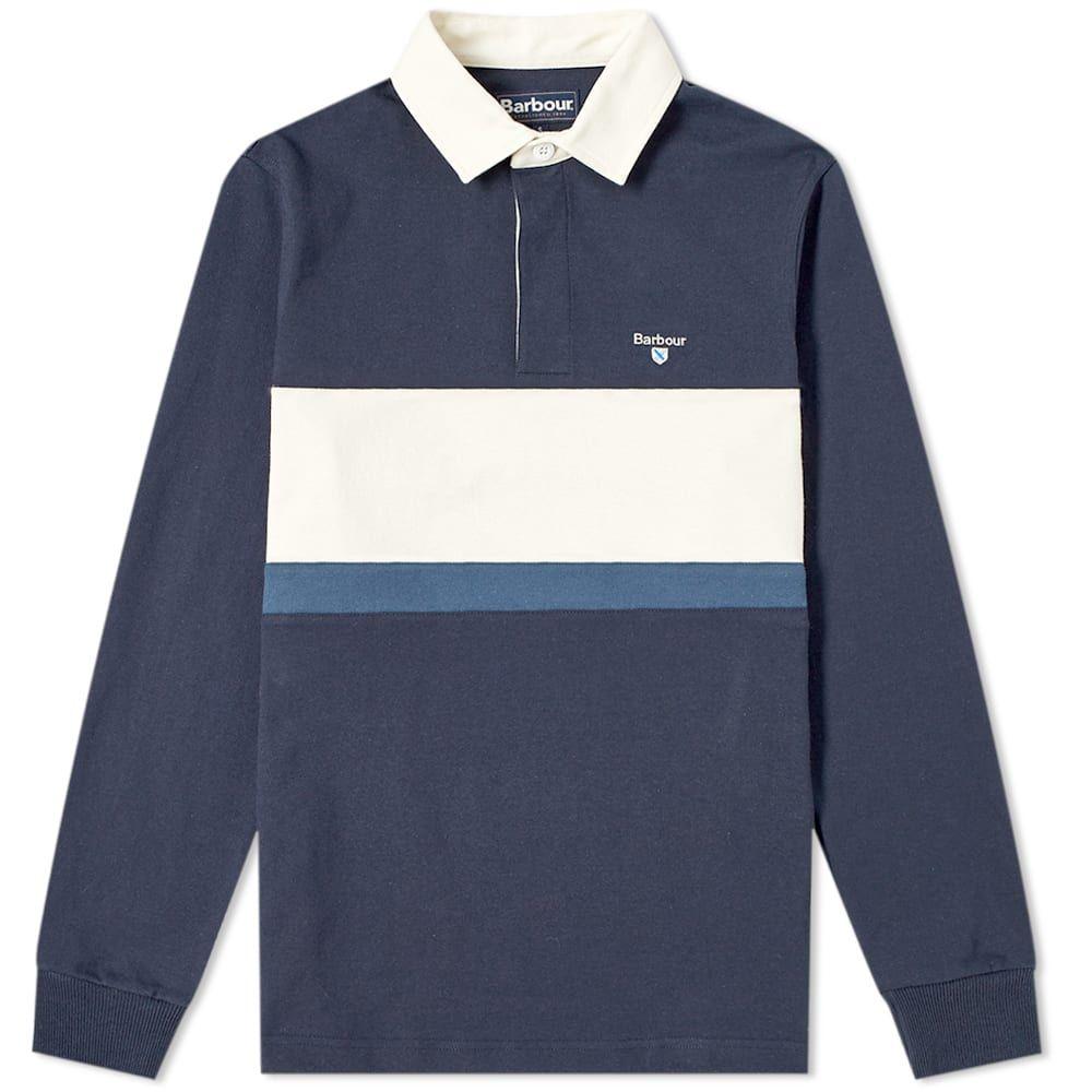 バーブァー Barbour メンズ ポロシャツ トップス【weston panel rugby shirt】Navy