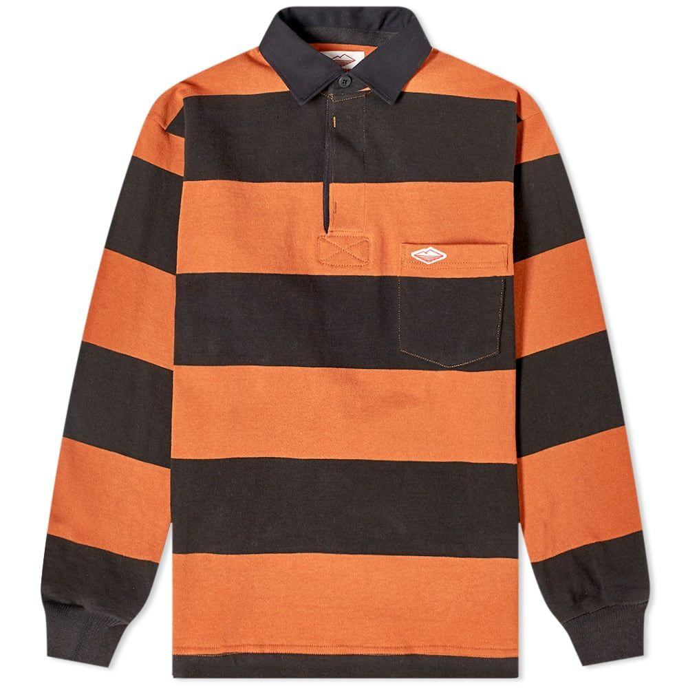 バテンウェア Battenwear メンズ ポロシャツ トップス【pocket rugby shirt】Rust/Black Stripe