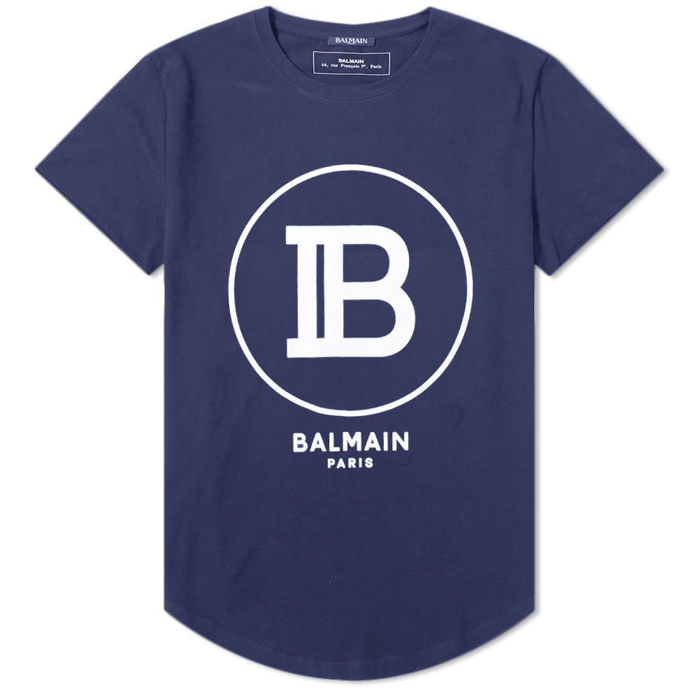 バルマン Balmain メンズ Tシャツ ロゴTシャツ トップス【b circle logo tee】Navy/White