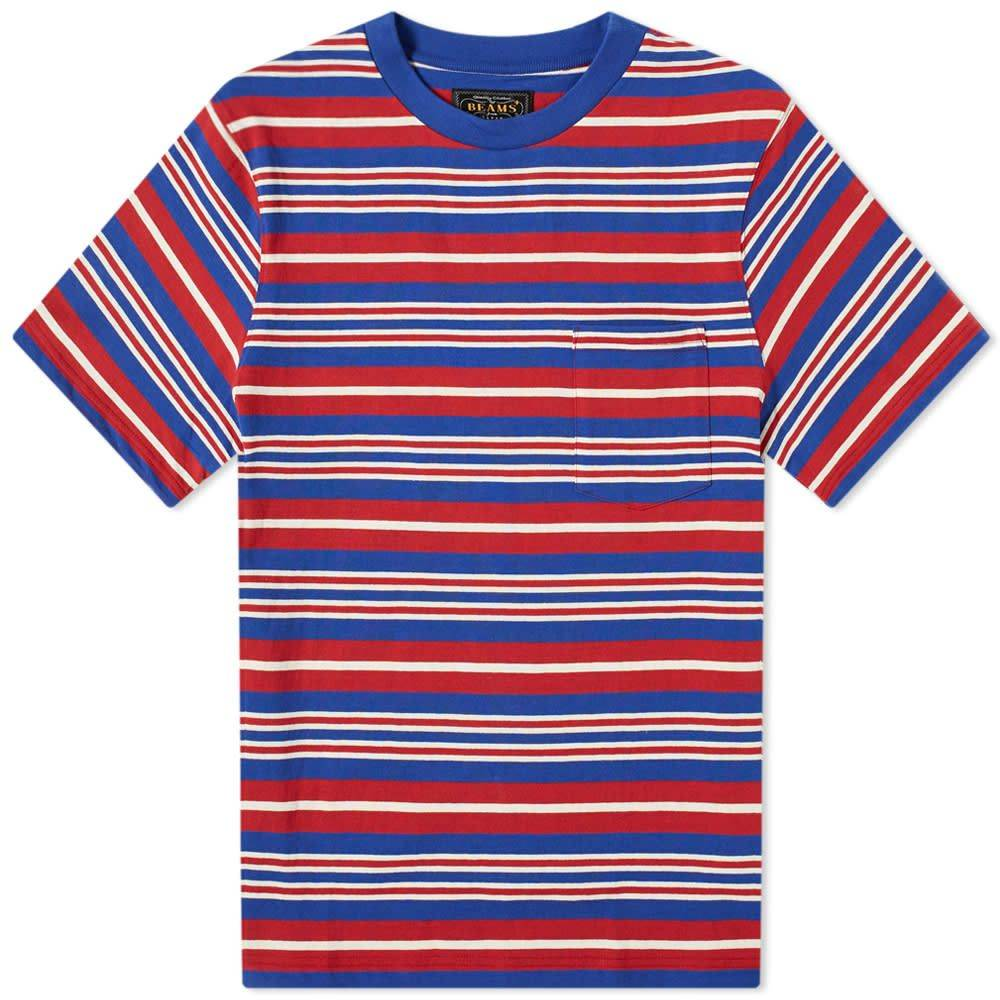 ビームス プラス Beams Plus メンズ Tシャツ ポケット トップス【multi stripe pocket tee】Blue/Wine/White