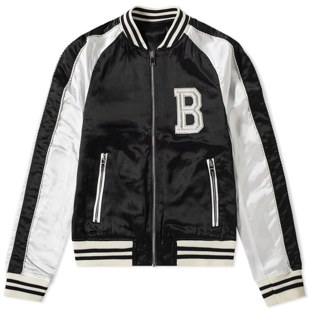 バルマン Balmain メンズ ブルゾン アウター【logo embroidered varsity jacket】White/Black