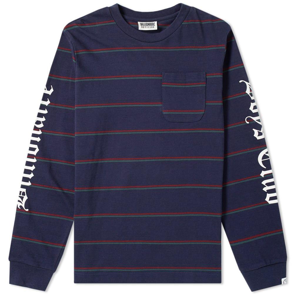 ビリオネアボーイズクラブ Billionaire Boys Club メンズ 長袖Tシャツ ポケット トップス【long sleeve striped pocket tee】Navy