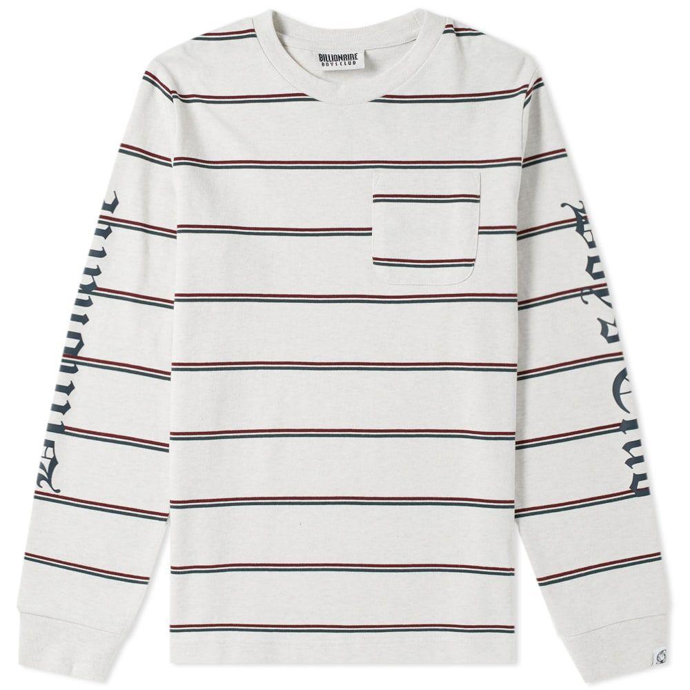 ビリオネアボーイズクラブ Billionaire Boys Club メンズ 長袖Tシャツ ポケット トップス【long sleeve striped pocket tee】White Marl