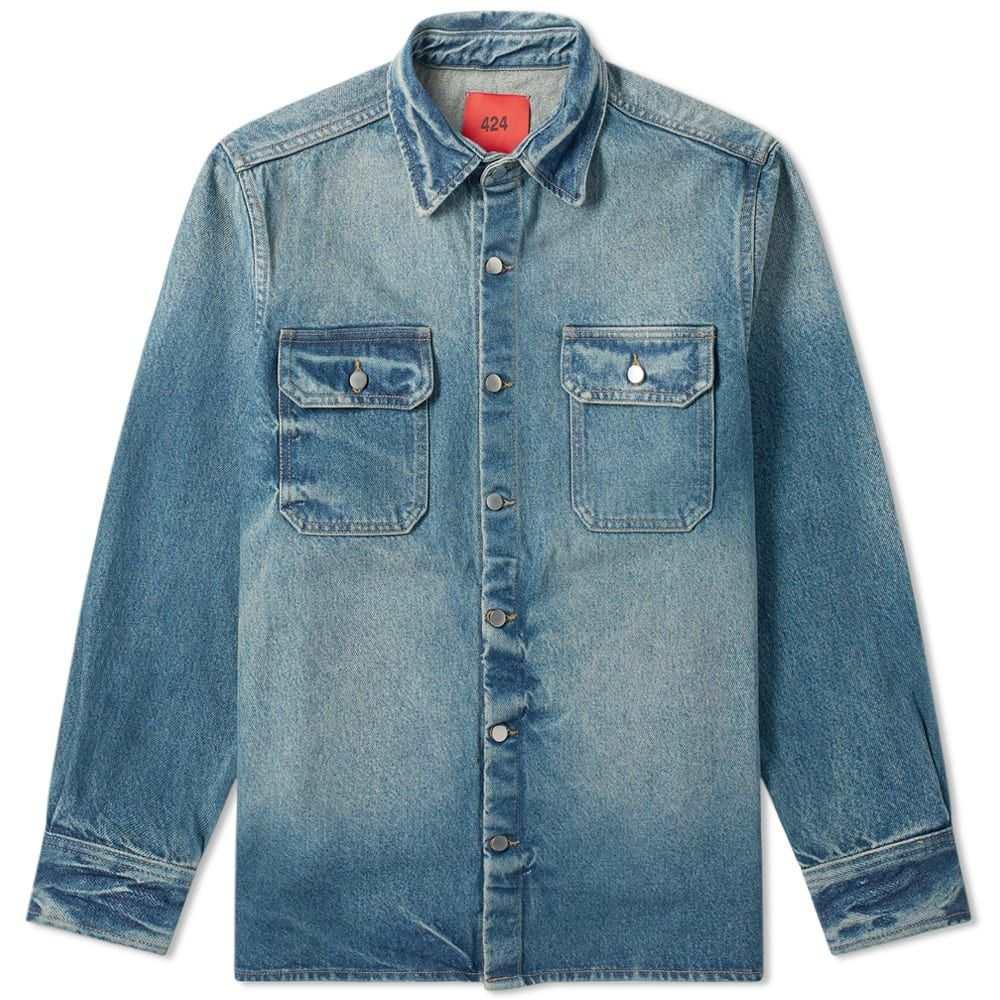 フォートゥーフォー 424 メンズ シャツ デニム トップス【western denim shirt】Indigo