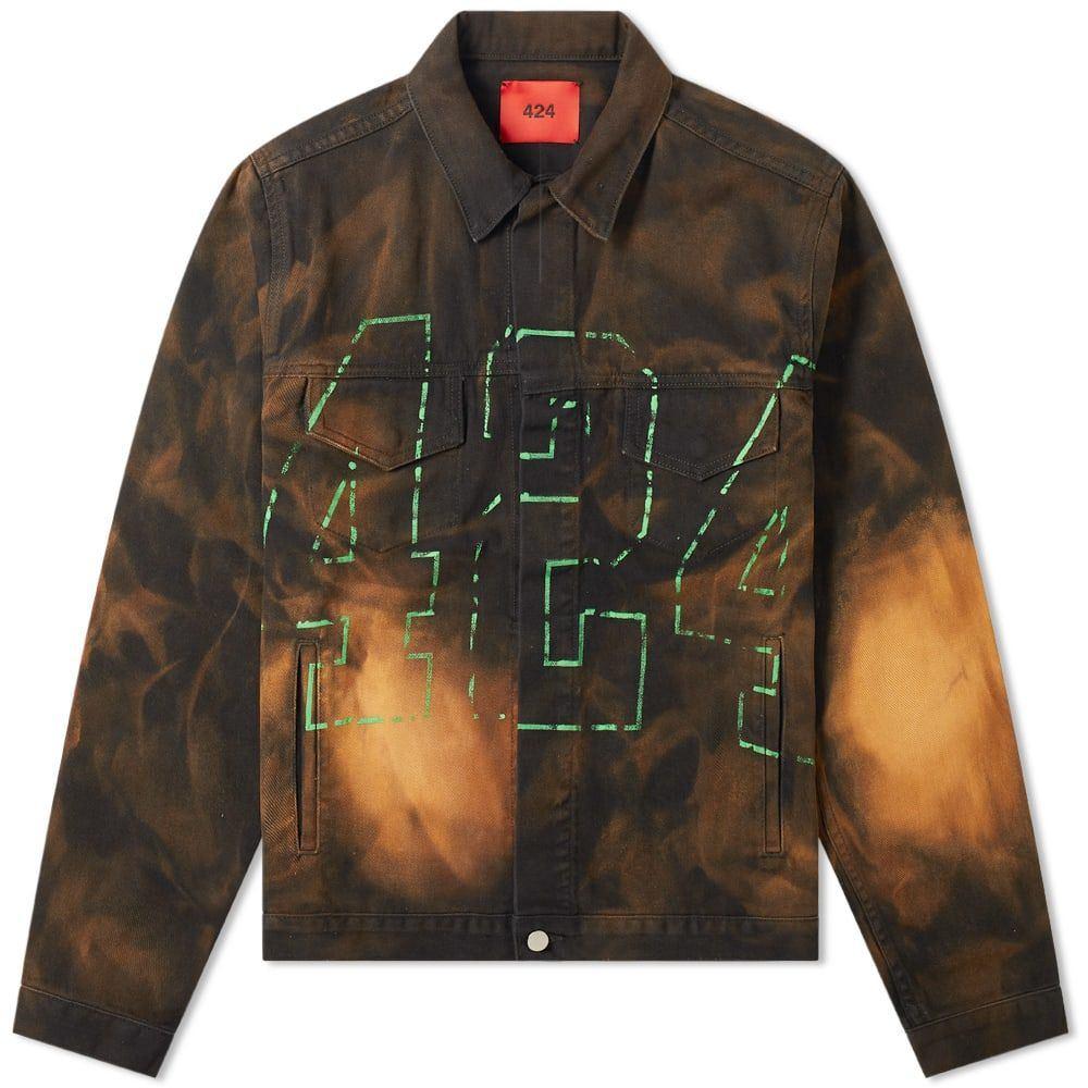 フォートゥーフォー 424 メンズ ジャケット アウター【neon logo bleached trucker jacket】Black