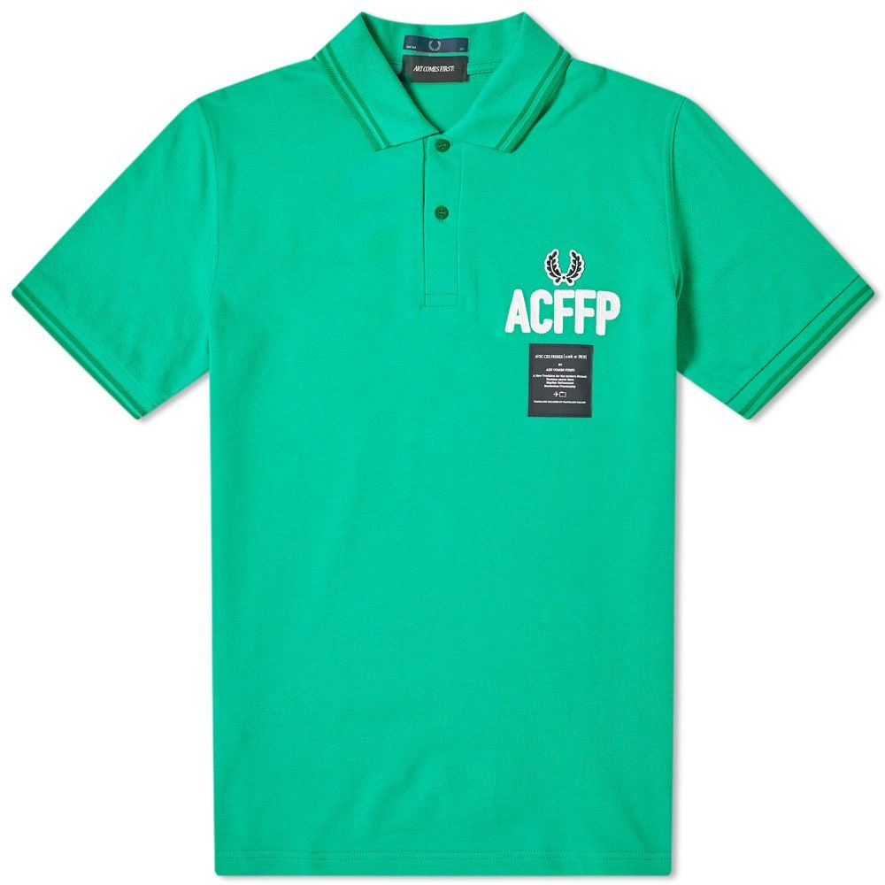 フレッドペリー Fred Perry Authentic メンズ ポロシャツ トップス【fred perry x art comes first embroidered polo】Island Green