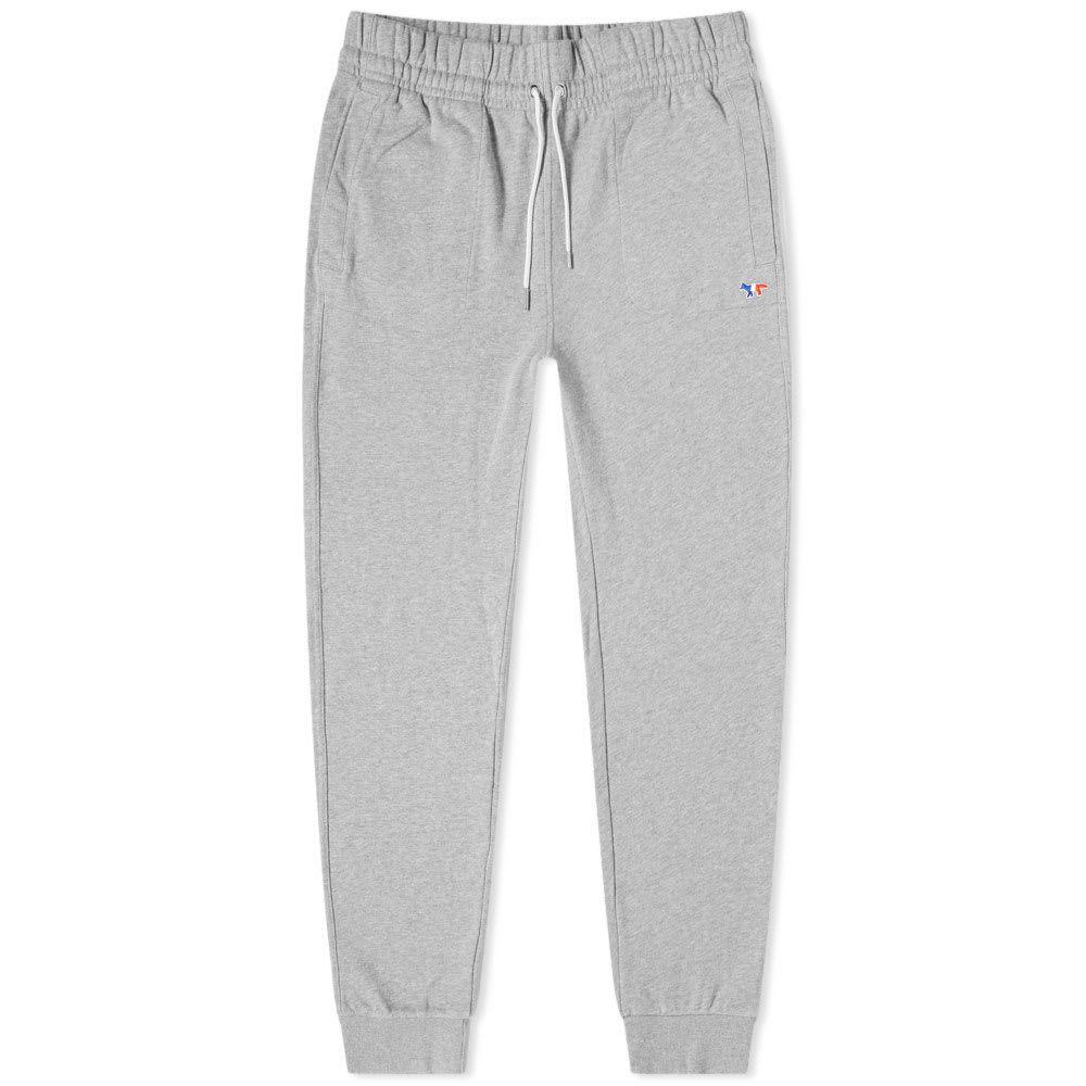 メゾン キツネ Maison Kitsune メンズ スウェット・ジャージ ボトムス・パンツ【tricolour fox patch sweat pant】Grey Melange