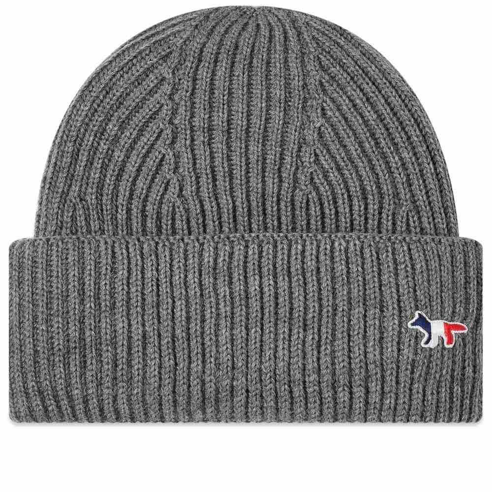 メゾン キツネ Maison Kitsune メンズ ニット 帽子【tricolor fox beanie】Grey Melange