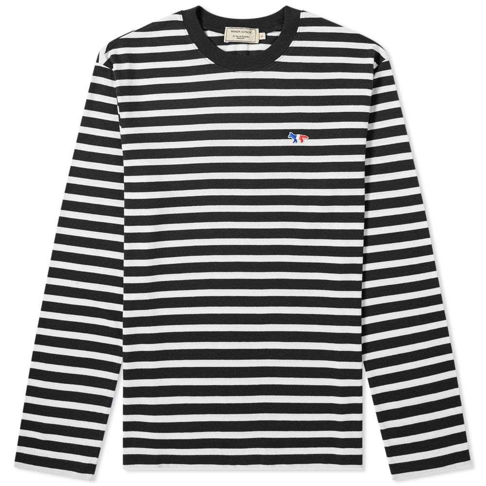 メゾン キツネ Maison Kitsune メンズ 長袖Tシャツ トップス【long sleeve tricolour fox stripe tee】Black/White