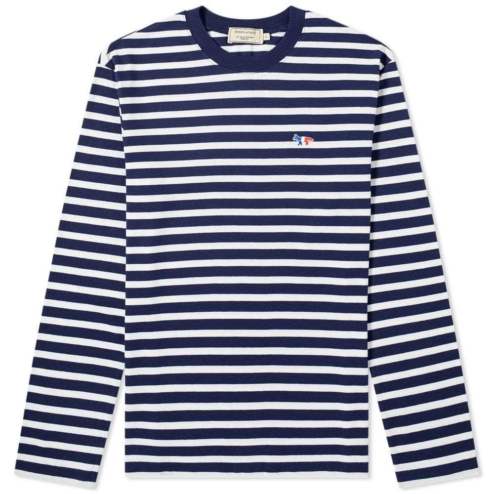 メゾン キツネ Maison Kitsune メンズ 長袖Tシャツ トップス【long sleeve tricolour fox stripe tee】Navy/White