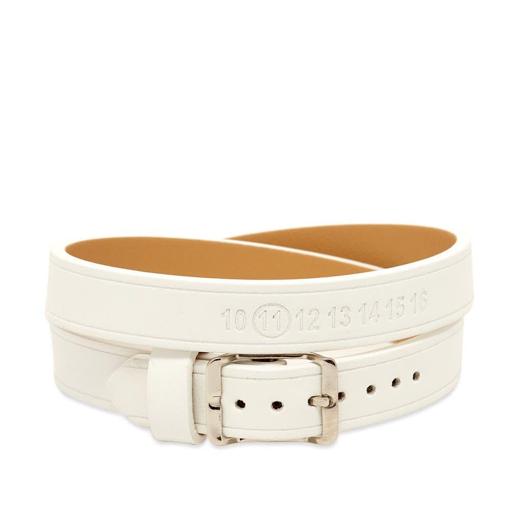メゾン マルジェラ Maison Margiela メンズ ブレスレット ラップブレス ジュエリー・アクセサリー【11 logo leather wrap bracelet】White/Silver