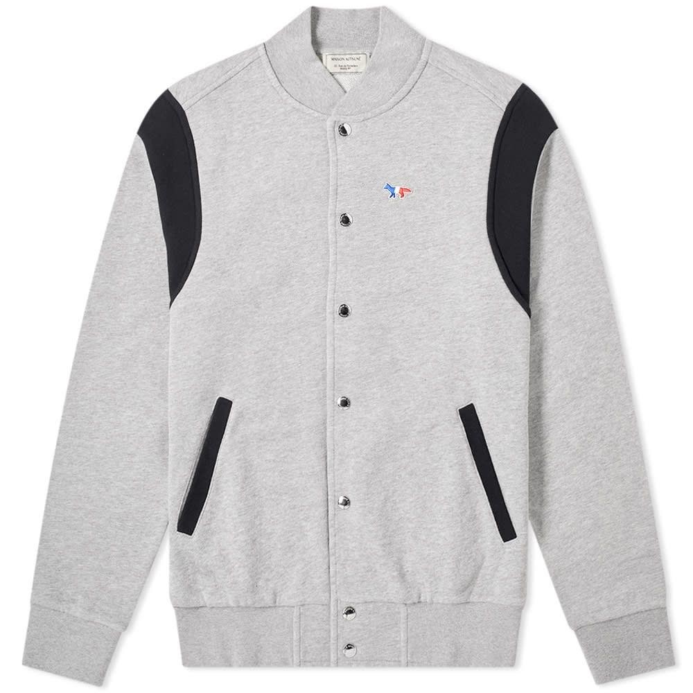 メゾン キツネ Maison Kitsune メンズ ジャケット アウター【teddy tricolour fox patch jacket】Grey Melange
