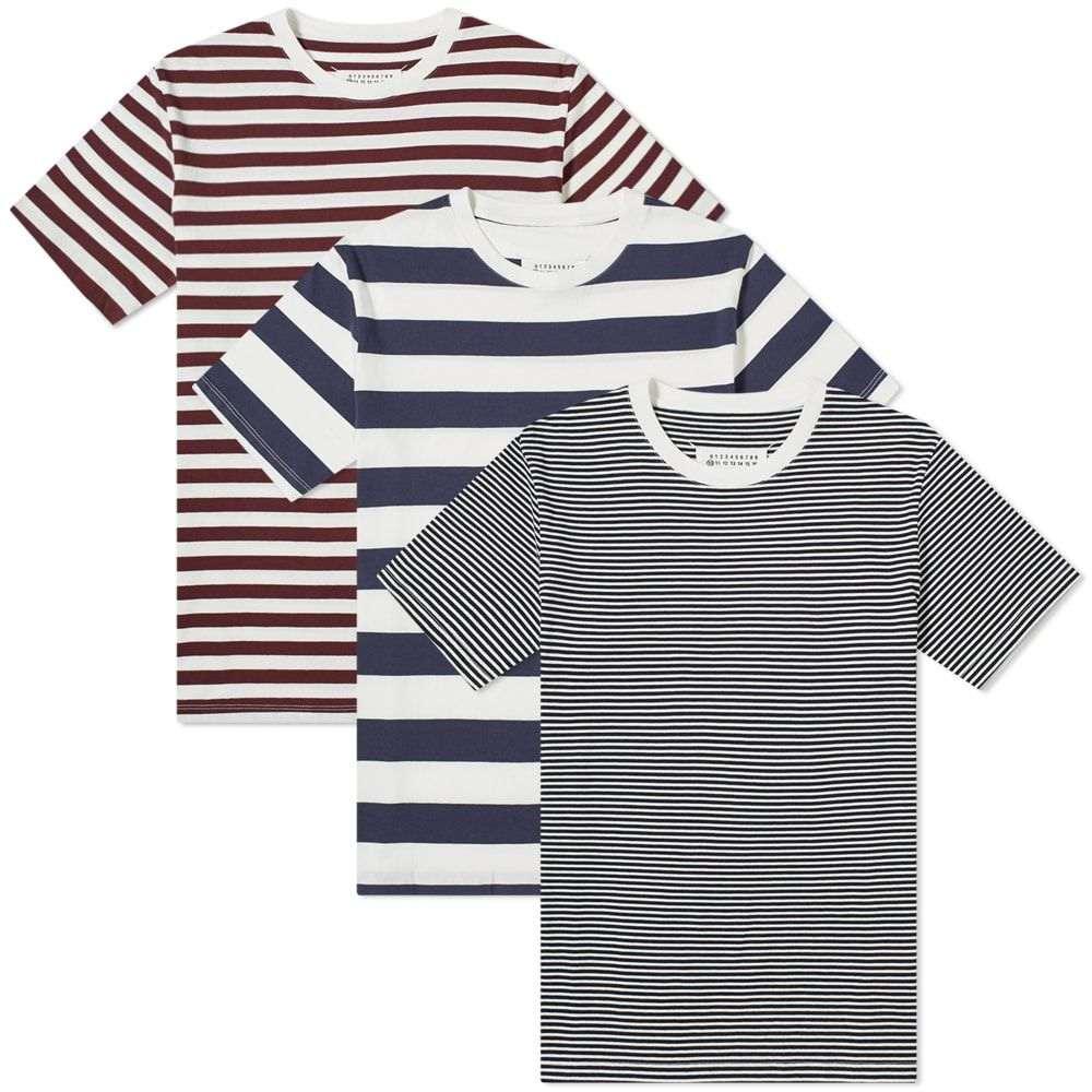 メゾン マルジェラ Maison Margiela メンズ Tシャツ 3点セット トップス【10 classic tee - 3 pack】Dark Marine/Bordeaux/Indigo