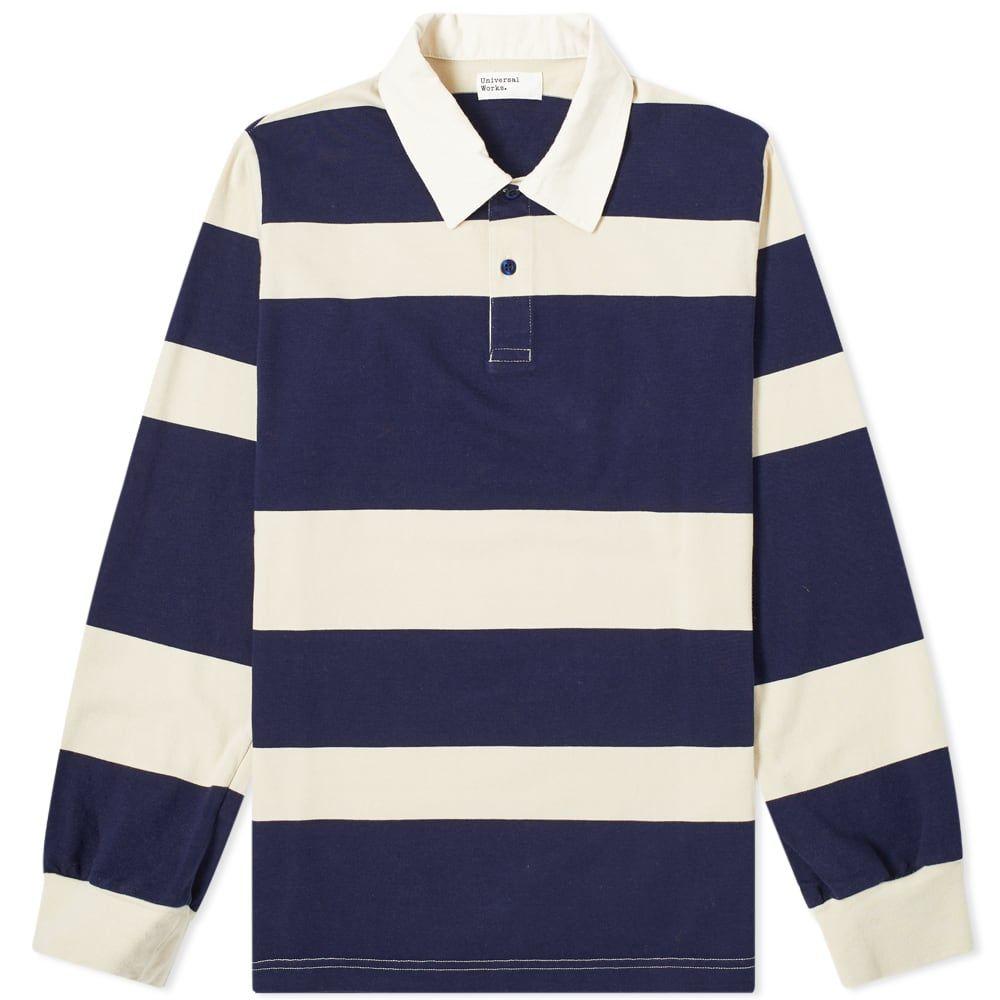 ユニバーサルワークス Universal Works メンズ ポロシャツ トップス【rugby shirt】Navy