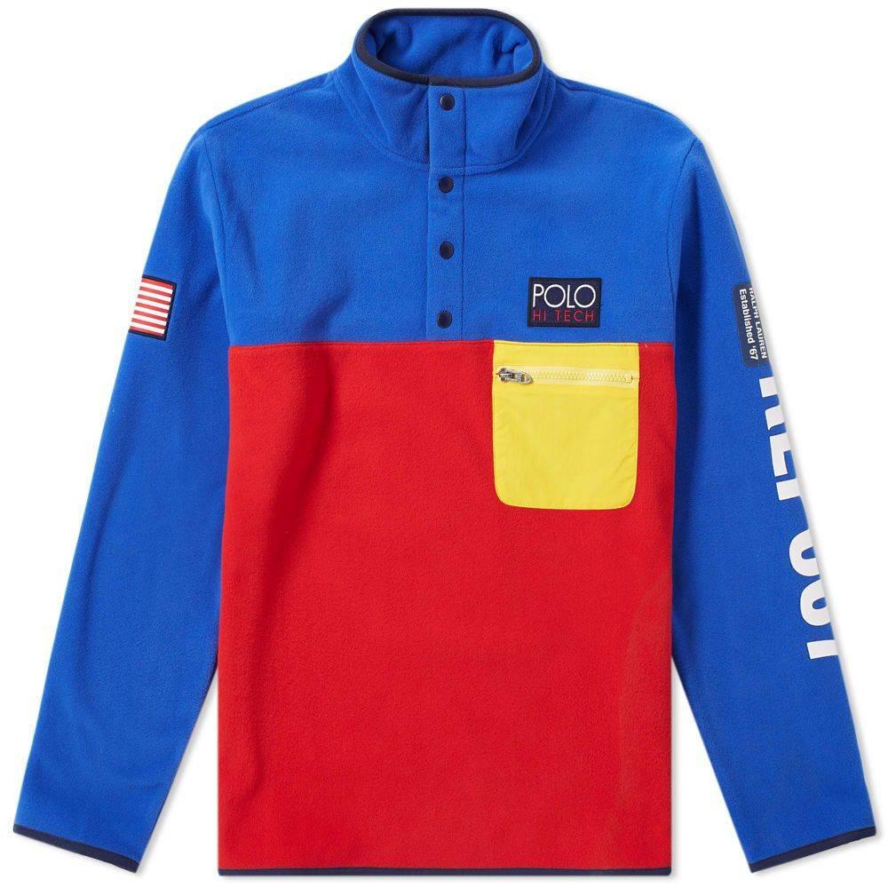 ラルフ ローレン Polo Ralph Lauren メンズ フリース トップス【hi-tech colour block pullover fleece】Bright Royal/2000 Red