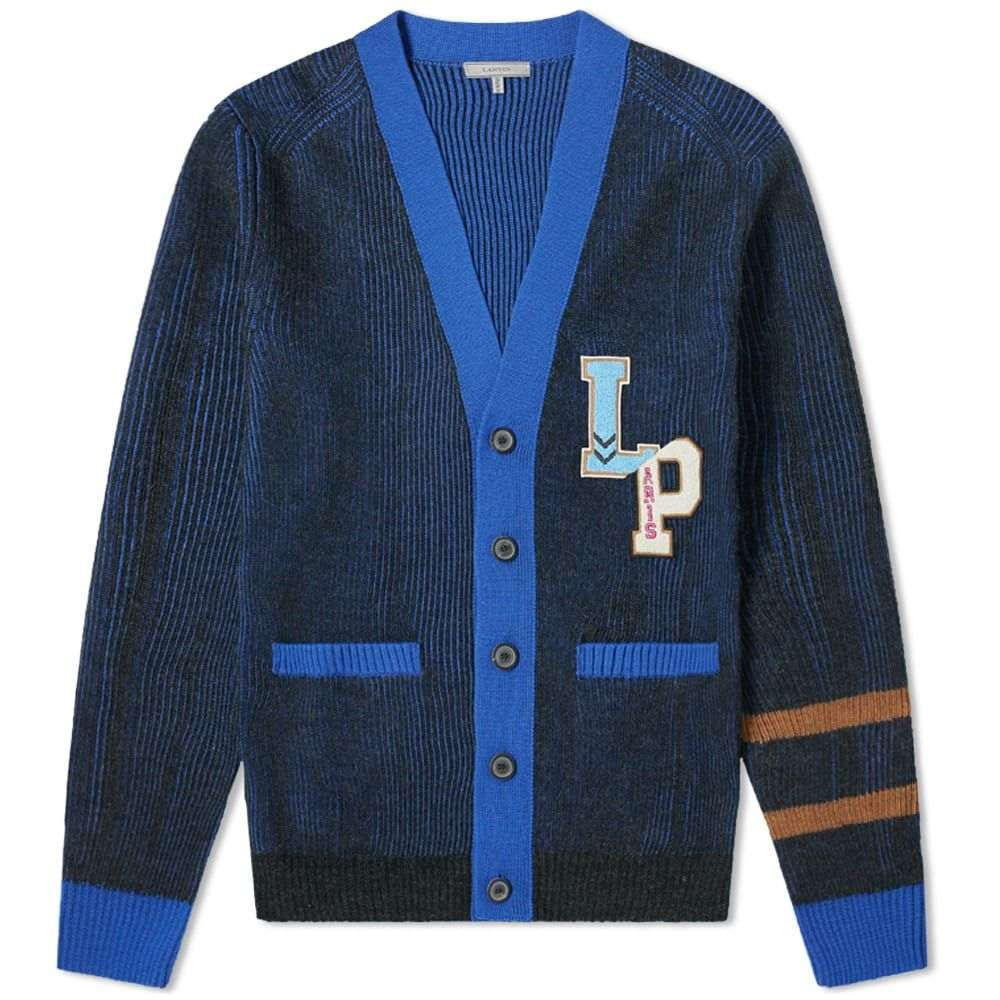 ランバン Lanvin メンズ カーディガン トップス【collegiate patch cardigan】Anthracite/Blue