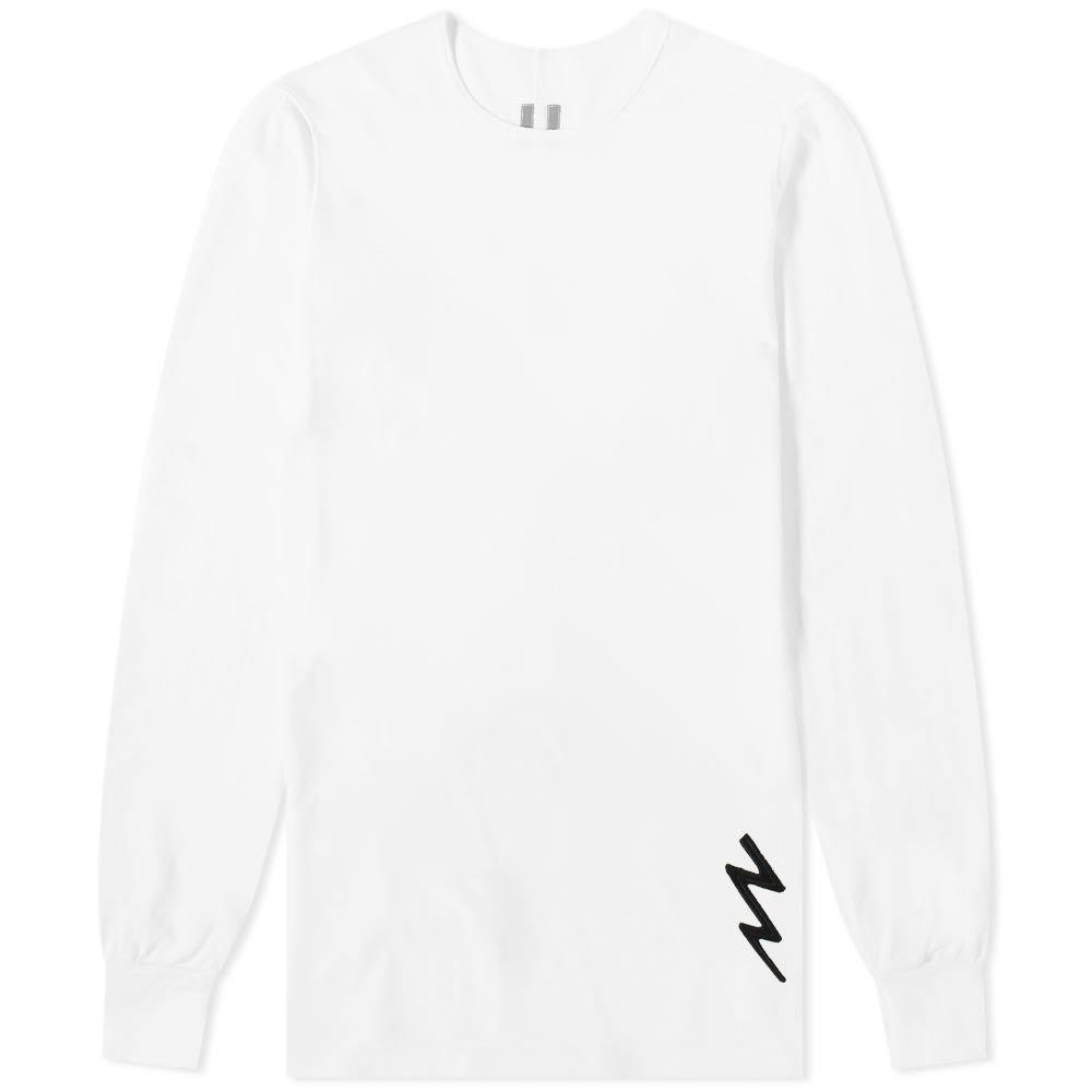 リック オウエンス Rick Owens メンズ 長袖Tシャツ トップス【long sleeve lightning bolt motif level tee】White/Black
