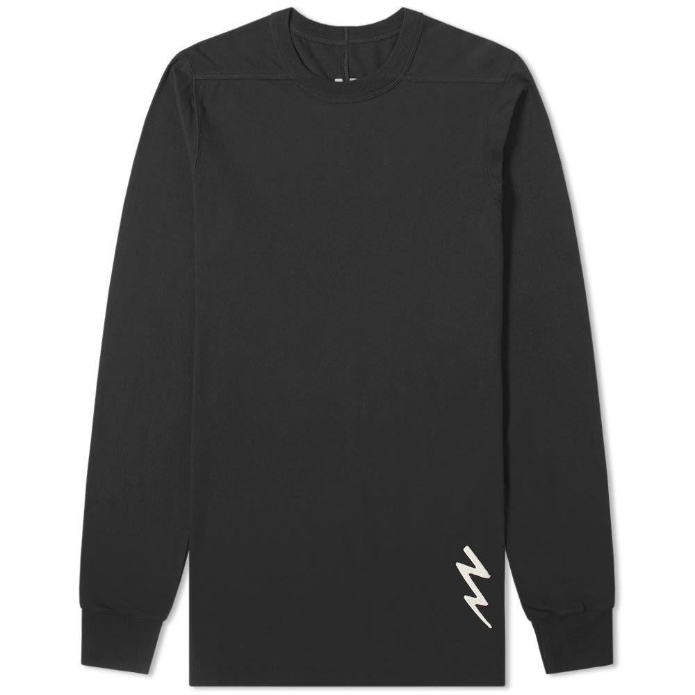 リック オウエンス Rick Owens メンズ 長袖Tシャツ トップス【long sleeve lightning bolt motif level tee】Black/White