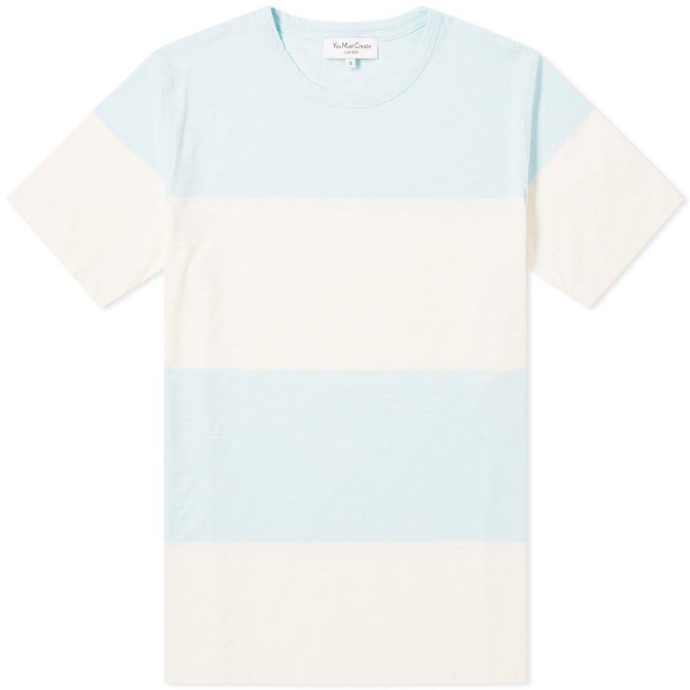 ワイエムシー YMC メンズ Tシャツ トップス【baja stripe tee】Sky/Ecru