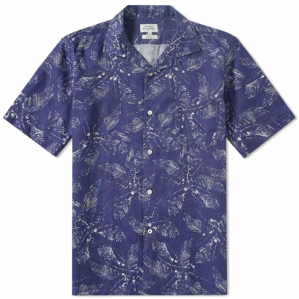 ハートフォード Hartford メンズ シャツ トップス【slam palm linen shirt】Indigo/White