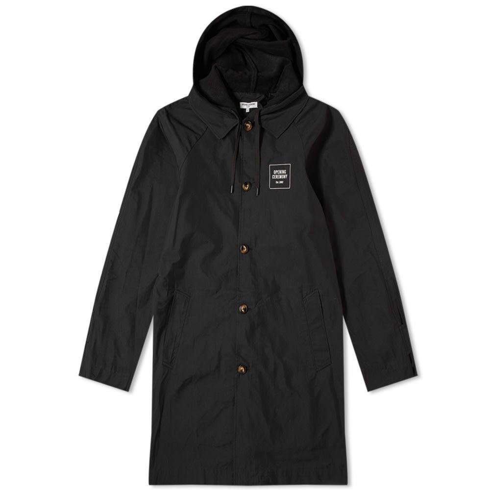 オープニングセレモニー Opening Ceremony メンズ コート アウター【hooded mac coat】Black
