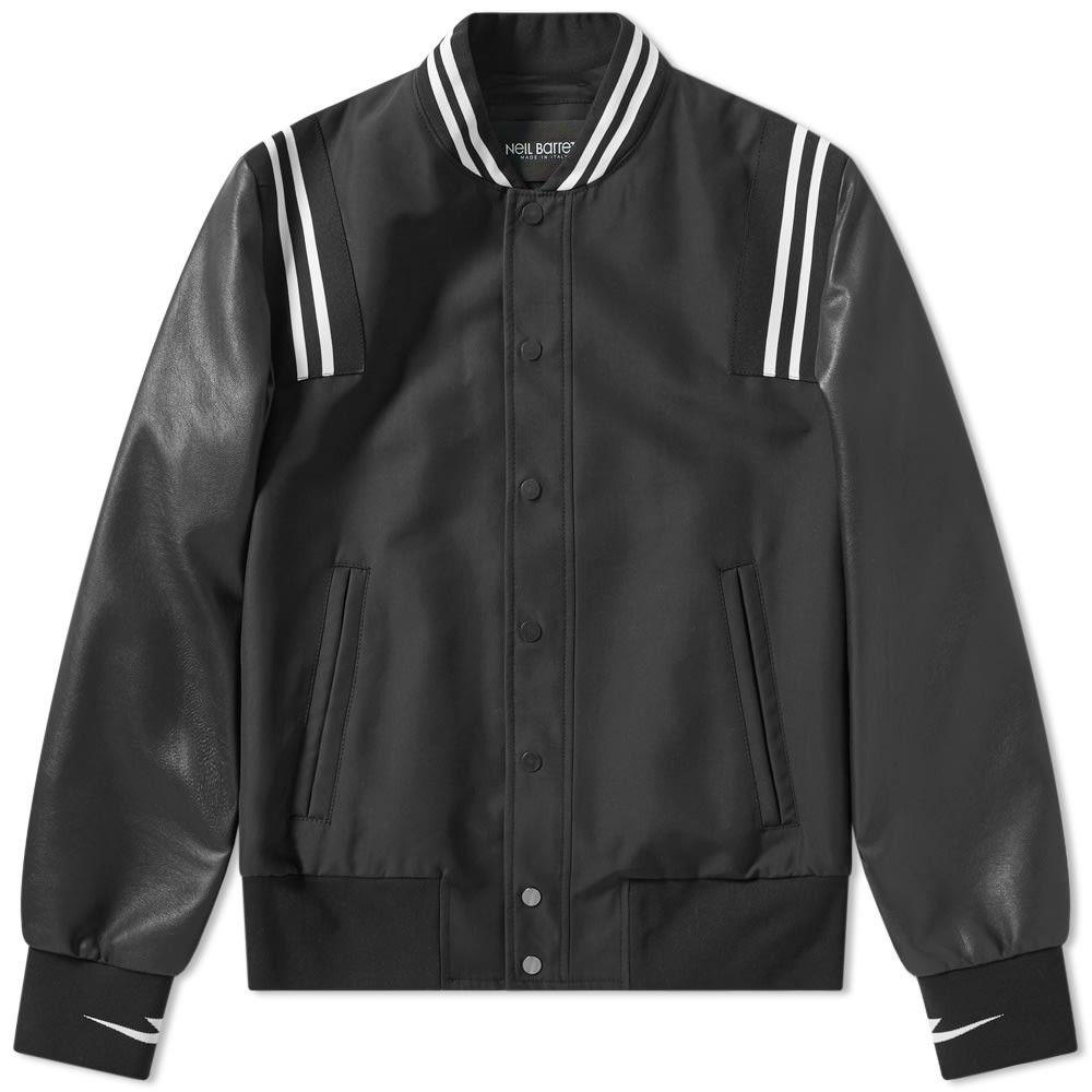 ニール バレット Neil Barrett メンズ ブルゾン ミリタリージャケット アウター【varsity satin bomber jacket】Black