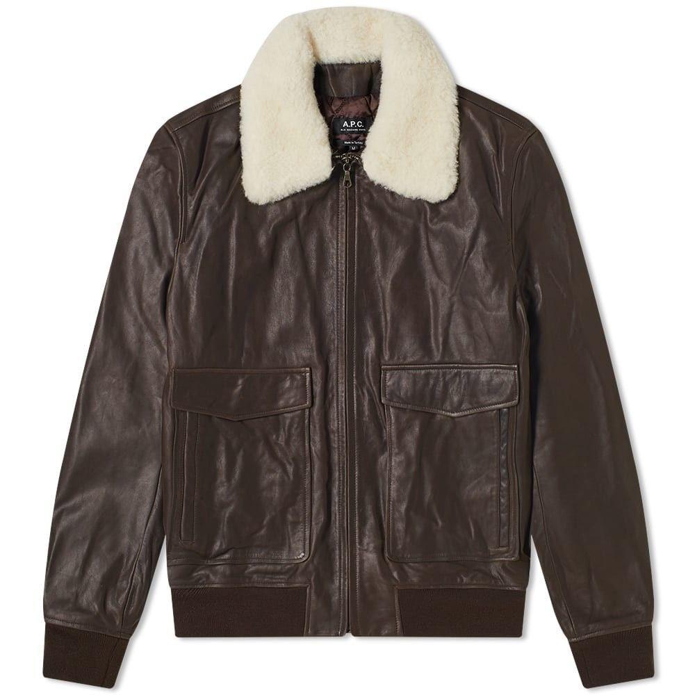 アーペーセー A.P.C. メンズ レザージャケット フライトジャケット アウター【leather flight jacket】Dark Brown