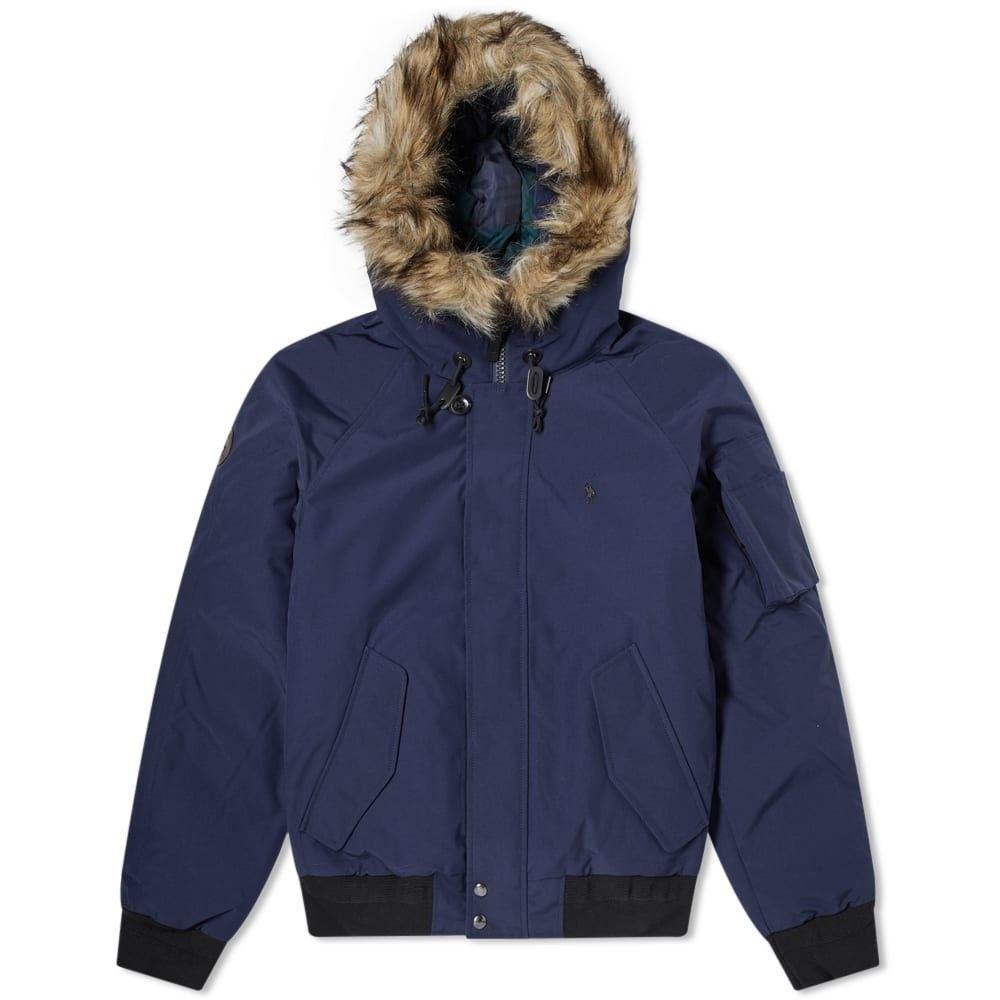 ラルフ ローレン Polo Ralph Lauren メンズ ダウン・中綿ジャケット アウター【faux fur trim down jacket】Navy