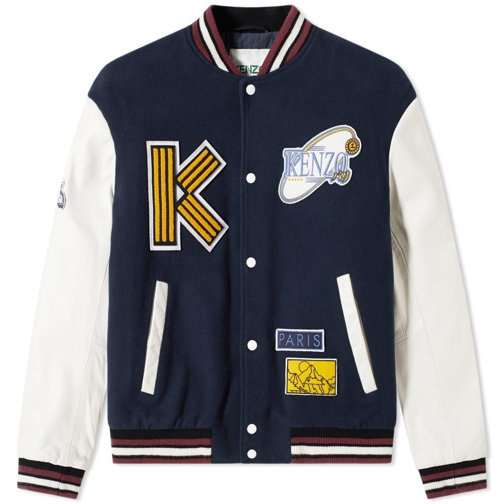 ケンゾー Kenzo メンズ ブルゾン アウター【wool & leather varsity jacket】Navy Blue