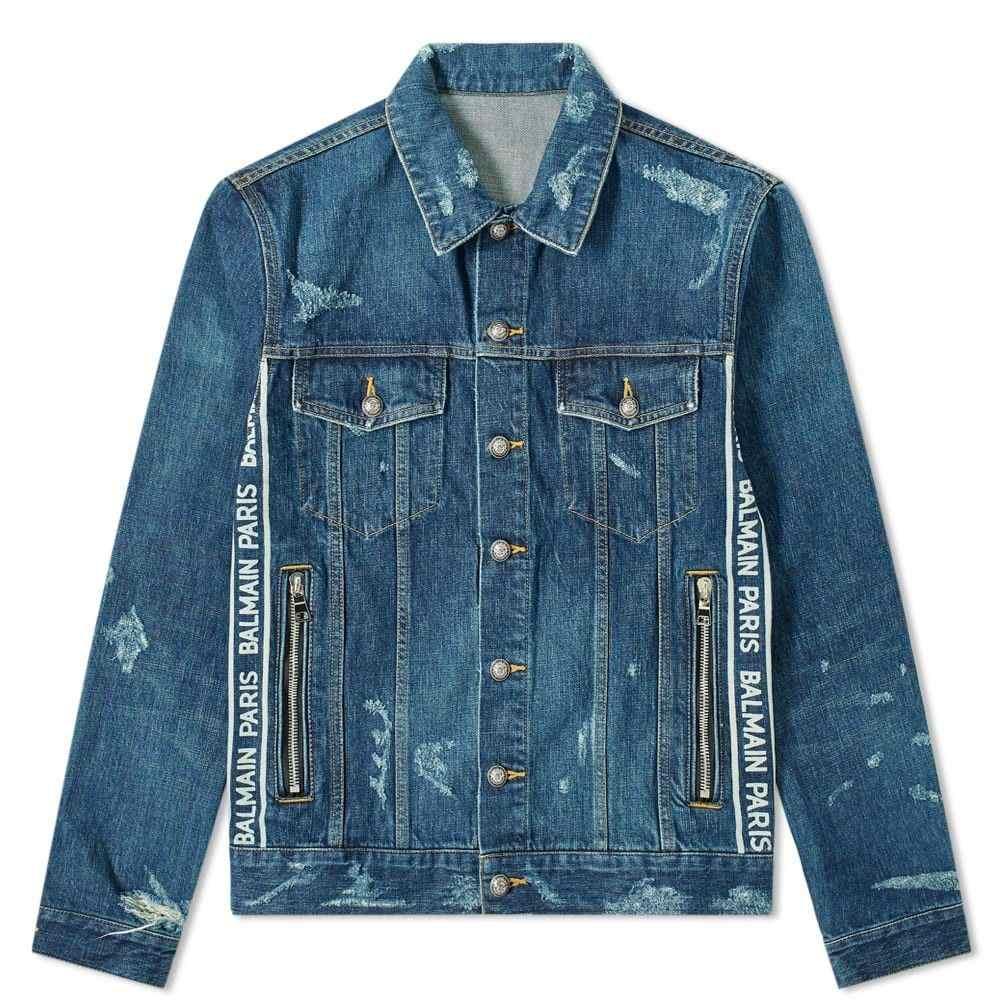 バルマン Balmain メンズ ジャケット Gジャン アウター【taped logo distressed denim jacket】Blue