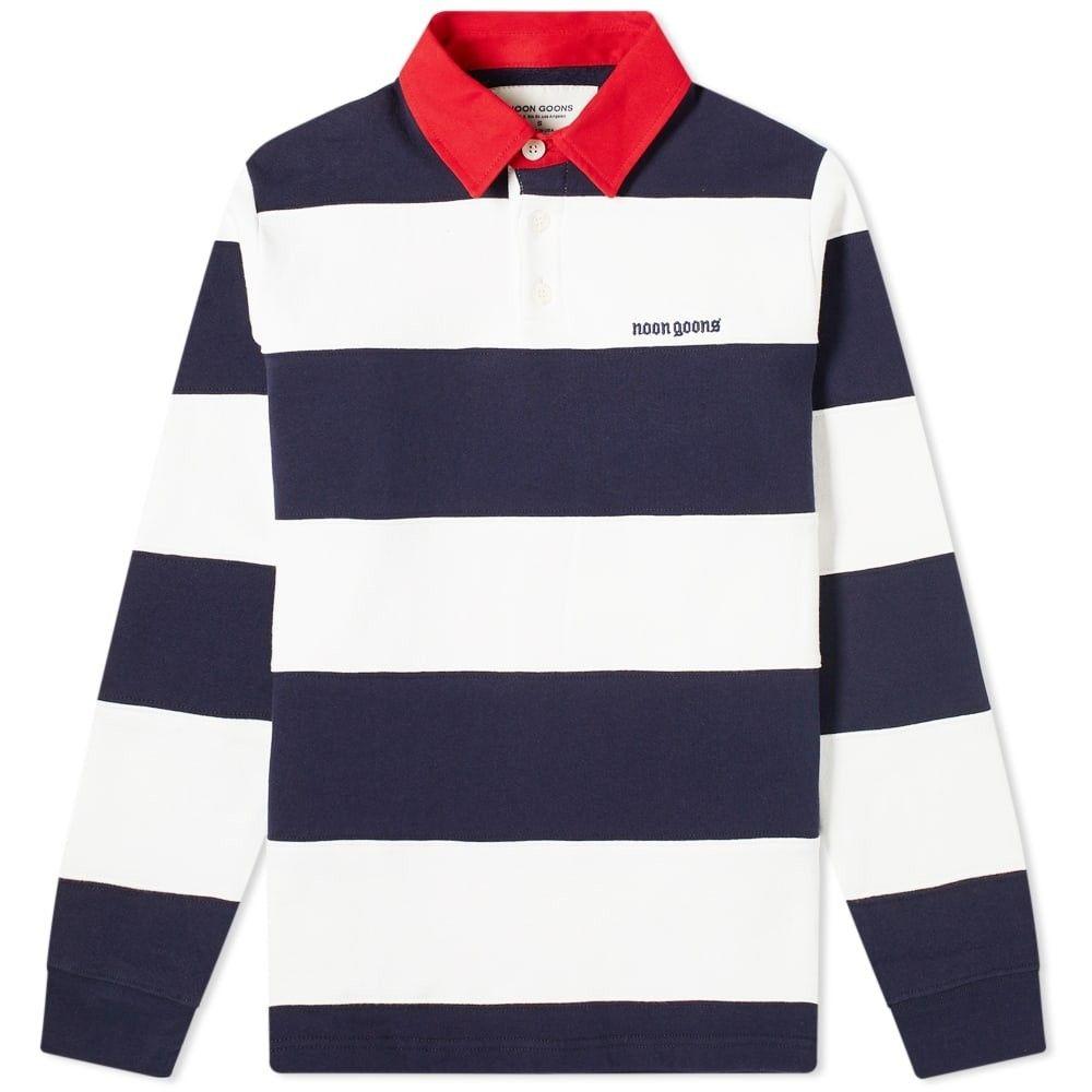 ヌーン グーンズ Noon Goons メンズ ポロシャツ トップス【fielders fleece rugby shirt】Navy/White