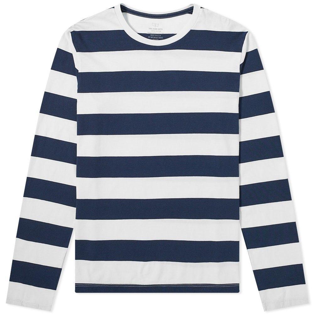 セーブカーキユナイテッド Save Khaki メンズ 長袖Tシャツ トップス【long sleeve rugby stripe tee】White/Black