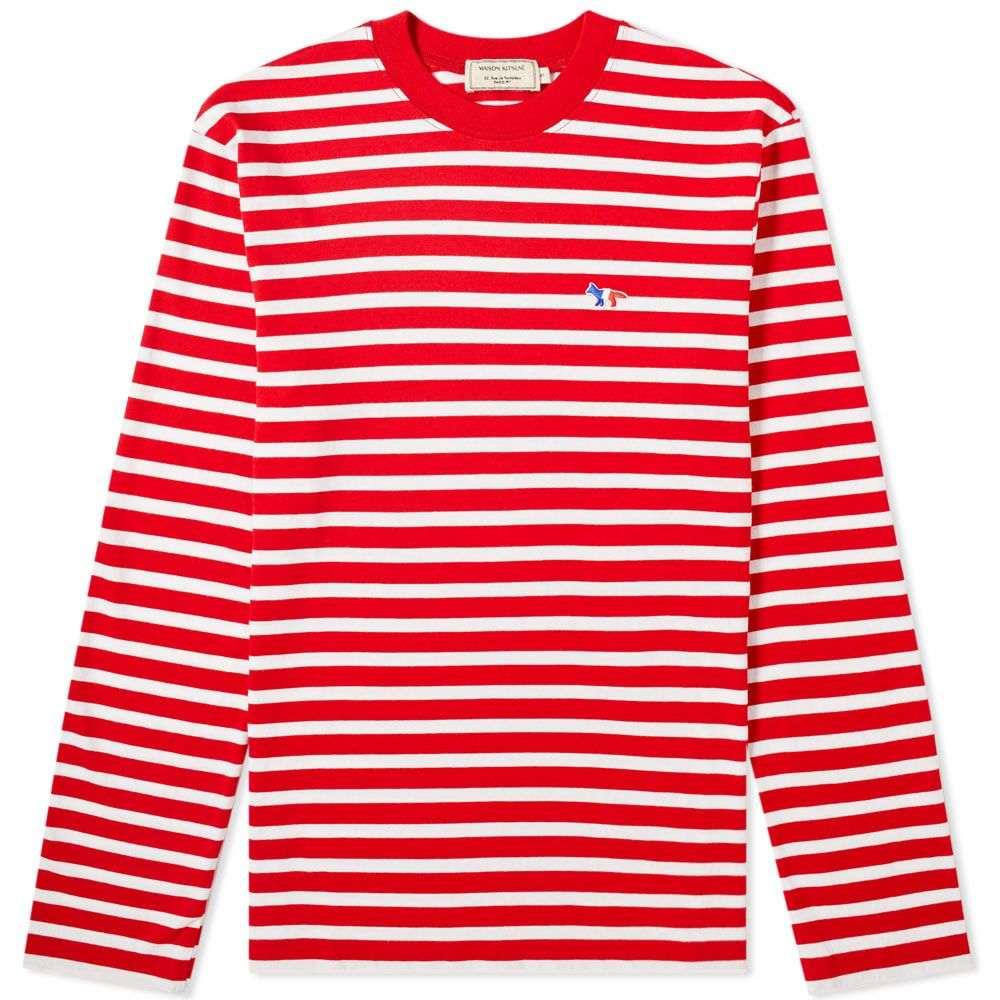 メゾン キツネ Maison Kitsune メンズ 長袖Tシャツ トップス【long sleeve tricolour fox stripe tee】Red/White