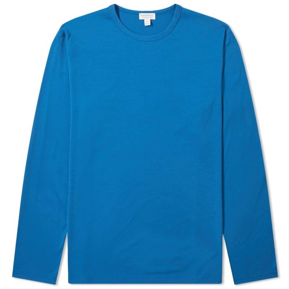 サンスペル Sunspel メンズ 長袖Tシャツ トップス【long sleeve tee】Cobalt Blue