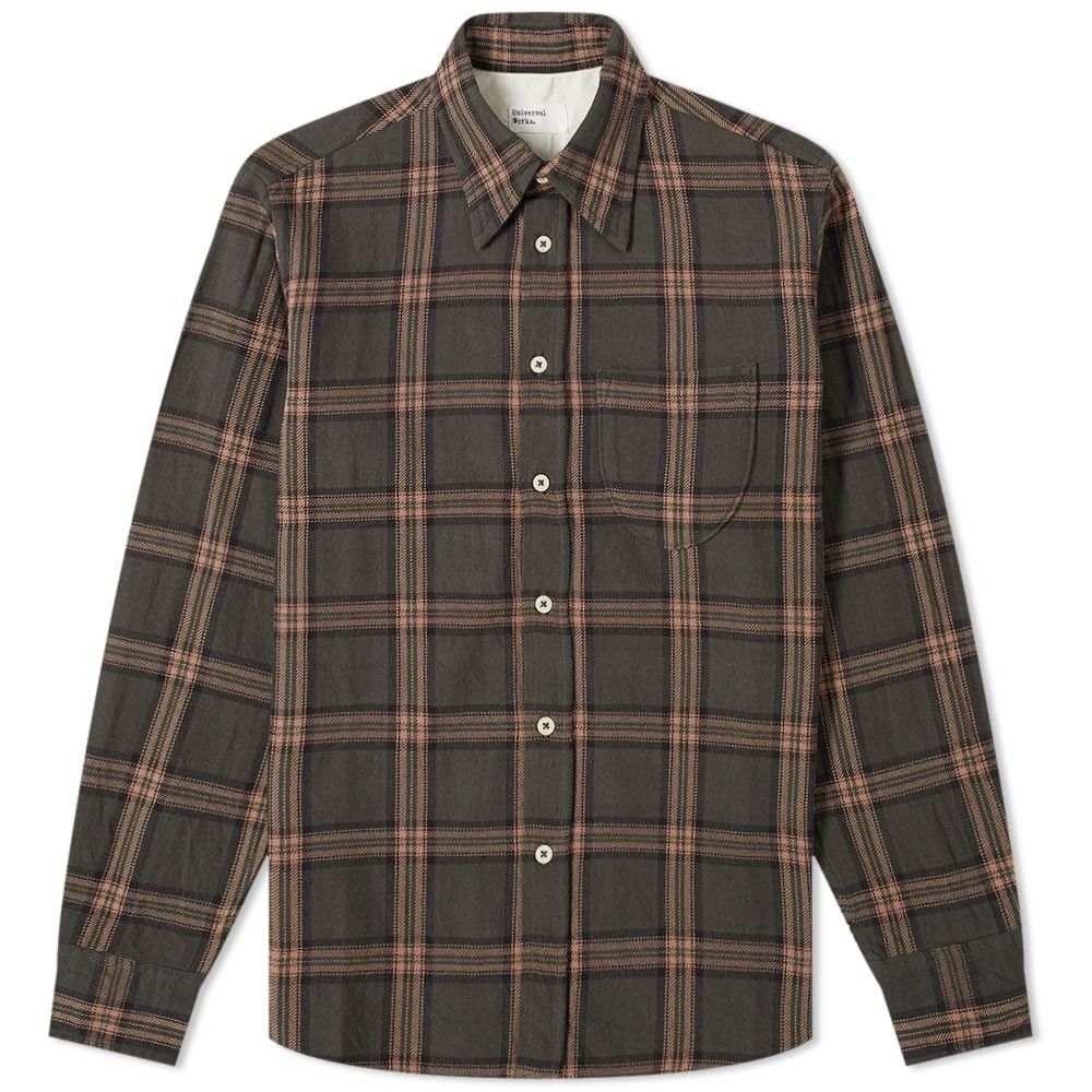 ユニバーサルワークス Universal Works メンズ シャツ トップス【brook check shirt】Taupe
