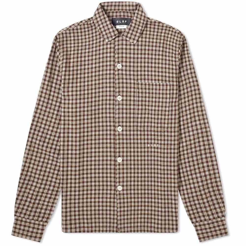 オラフハンセン Olaf Hussein メンズ ジャケット オーバーシャツ アウター【flannel check overshirt】Brown/Yellow