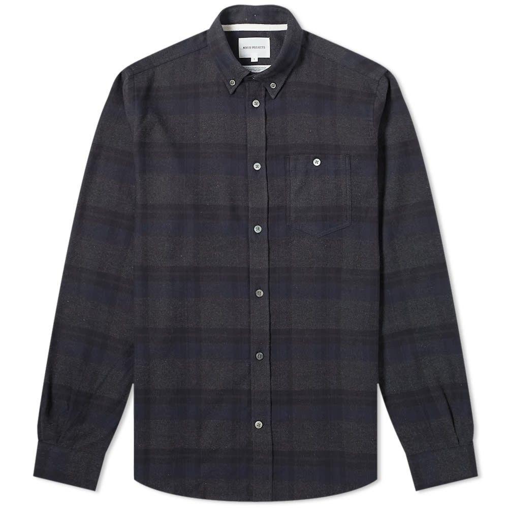 ノースプロジェクト Norse Projects メンズ シャツ フランネルシャツ トップス【anton brushed flannel check shirt】Dark Navy