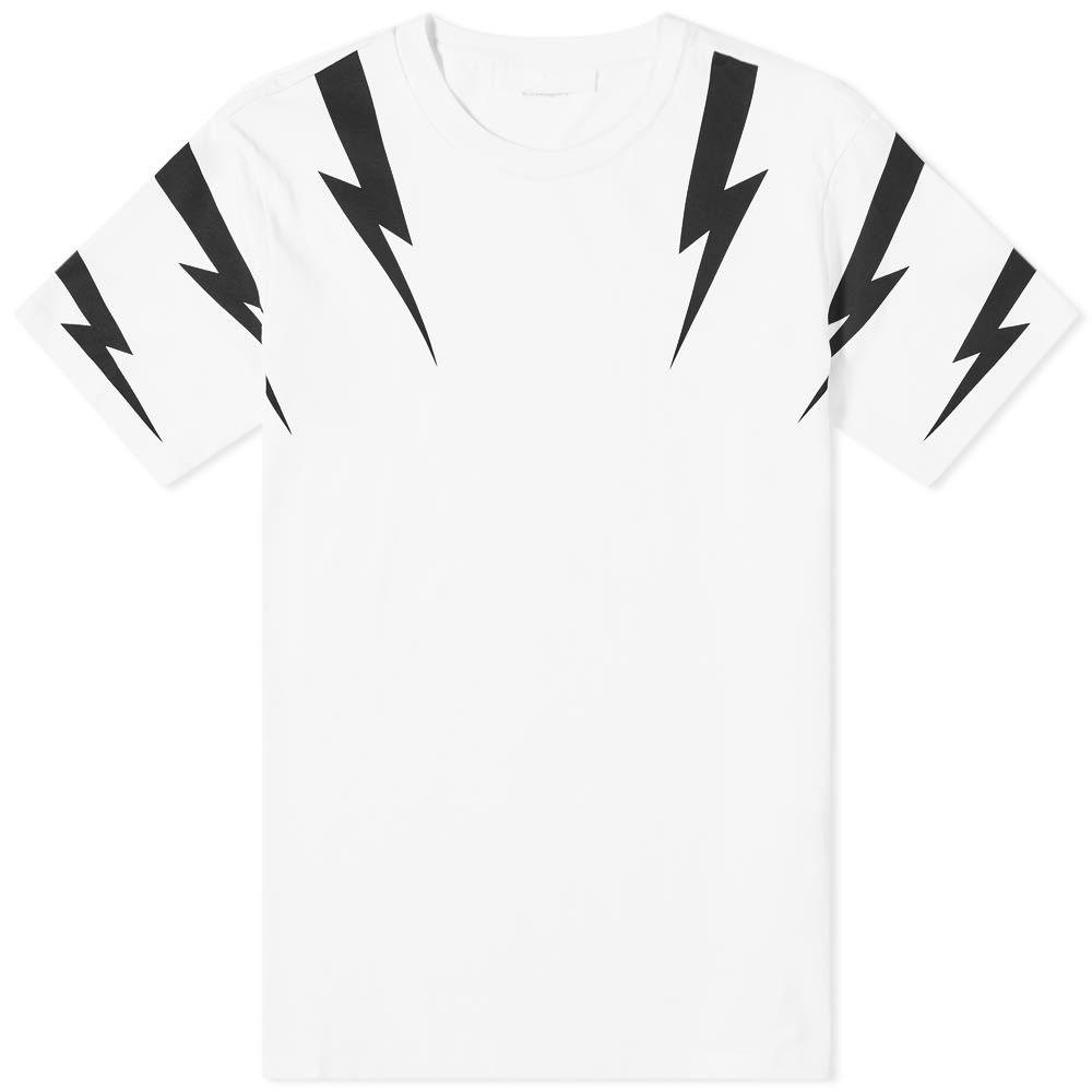 ニール バレット Neil Barrett メンズ 長袖Tシャツ トップス【tiger bolt sleeve print tee】White/Black