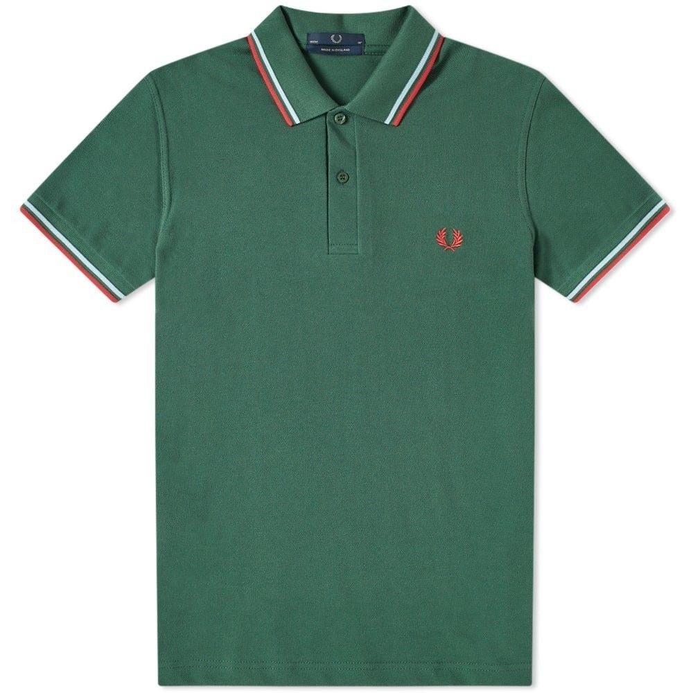 フレッドペリー Fred Perry Laurel Wreath メンズ ポロシャツ トップス【fred perry reissues original twin tipped polo】Tartan Green/Ice/Red