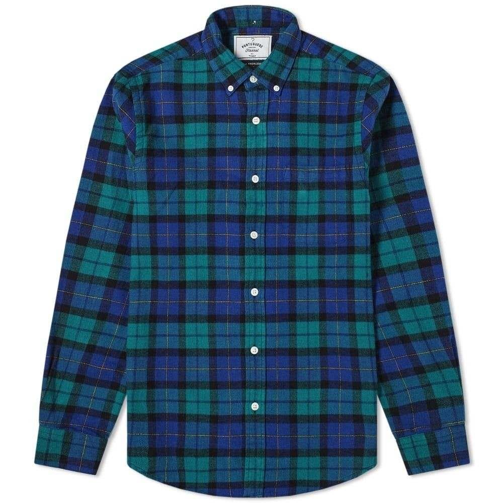 ポーチュギースフランネル Portuguese Flannel メンズ シャツ トップス【montvideo button down check shirt】Blue/Green