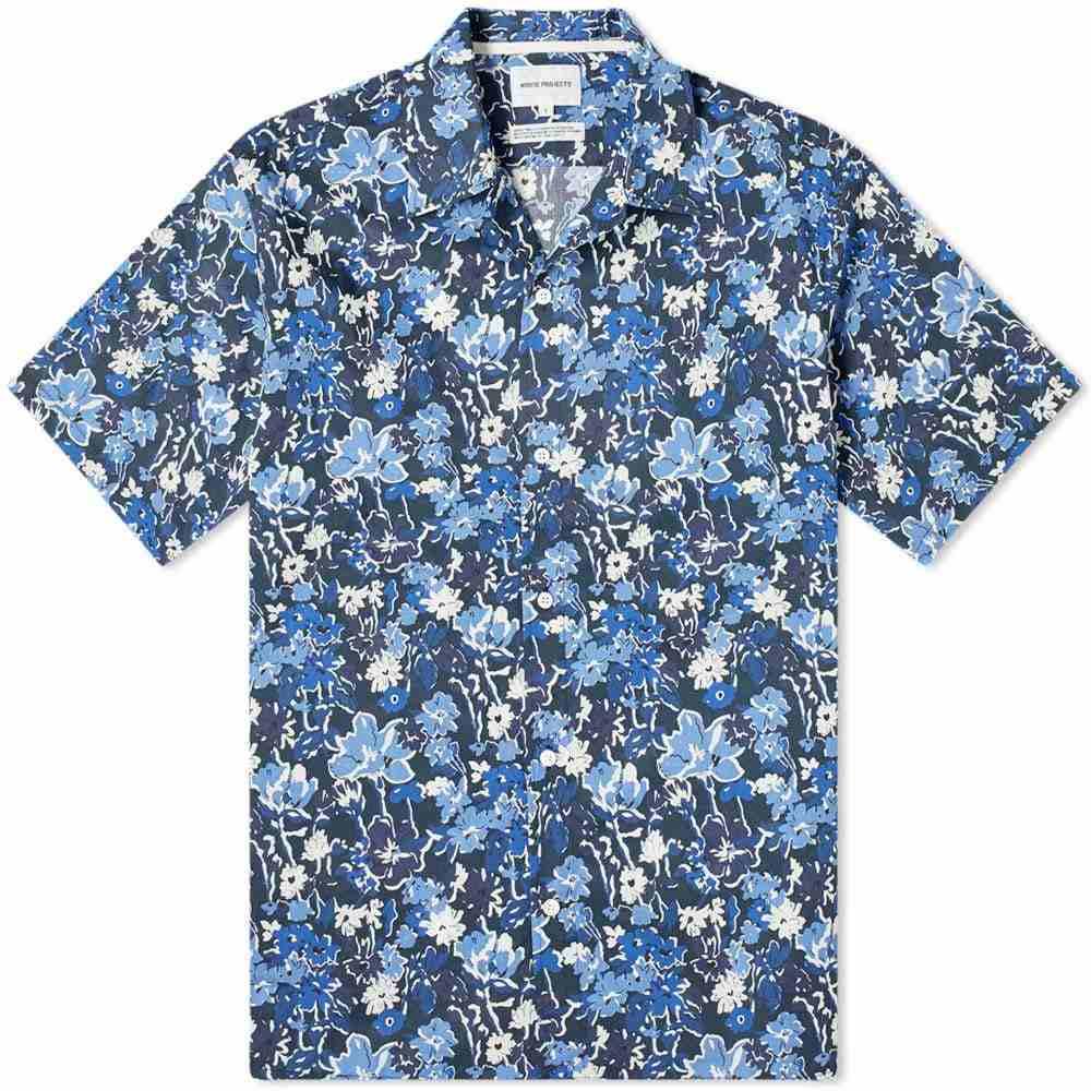 ノースプロジェクト Norse Projects メンズ 半袖シャツ トップス【carsten liberty print vacation shirt】Dark Navy