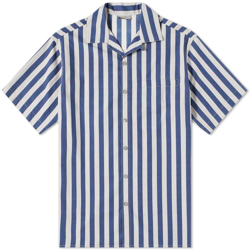 ランバン Lanvin メンズ 半袖シャツ トップス【stripe vacation shirt】Dark Blue/Light Grey