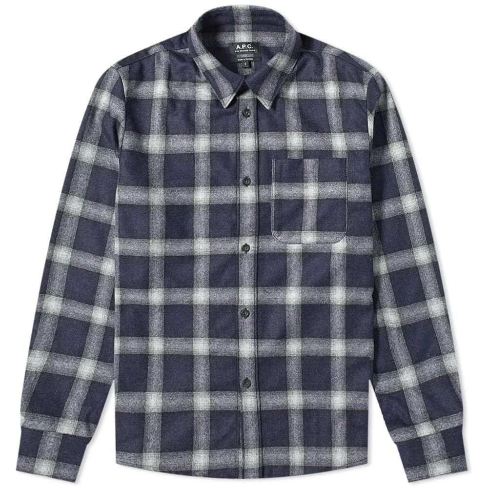 アーペーセー A.P.C. メンズ シャツ オーバーシャツ トップス【trek wool check overshirt】Dark Navy