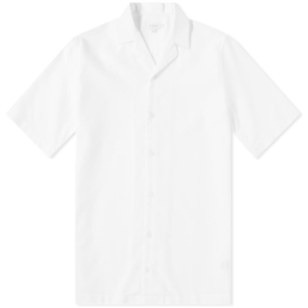 サンスペル Sunspel メンズ 半袖シャツ トップス【cotton camp collar short sleeve shirt】White