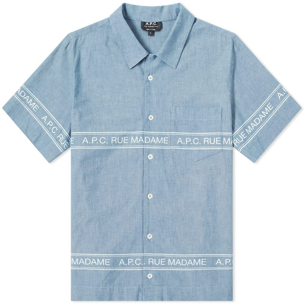 アーペーセー A.P.C. メンズ 半袖シャツ シャンブレーシャツ トップス【short sleeve logo chambray shirt】Indigo